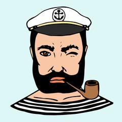 Hand-drawn character sailor. Vector