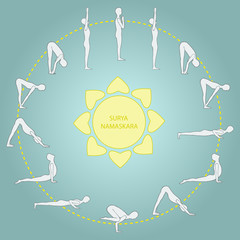 Cycle exercise in yoga sun salutation. Asanas. Vector€