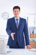 Business and office concept - handsome businessman with open