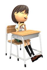 教室の机で微笑む女子生徒の3Dイラスト