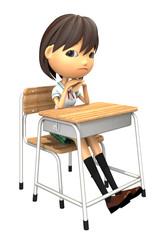 教室の机で不機嫌な女子生徒の3Dイラスト