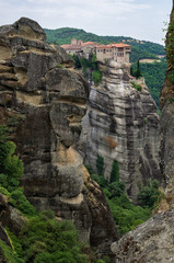 Rocks and monastery on top in Meteora, Greece