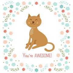 Cute little cat vector illustration
