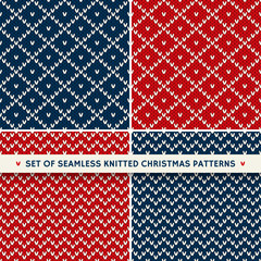 Set of 4 Winter Holiday Seamless Knitted Patterns