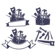 Toolbox with tools, design elements. Vector illustration.