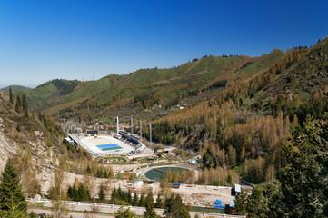 Medeo Stadium. Outdoor speed skating in mountain valley