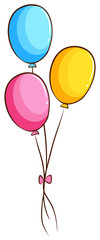 A simple coloured drawing of balloons