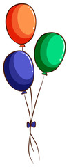 A drawing of three colourful balloons