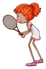 A girl playing tennis