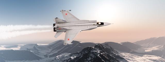 Kampfjet im Vorbeiflug über einem Gebirge