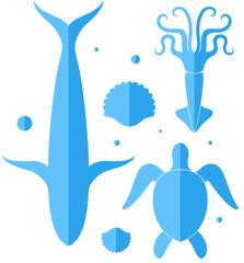 Ocean. Icon set