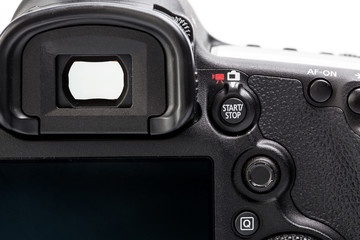 Professional modern DSLR camera - detail of the top LCD