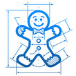 Gingerbread man with dimension lines. Blueprint drawing
