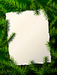 Paper for christmas list against pine branches. Holiday template