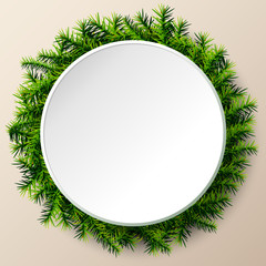 Empty round frame of christmas tree twigs. Christmas template