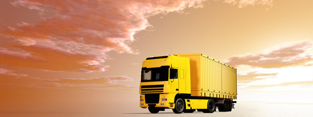 Gelber Lastzug im Morgenrot