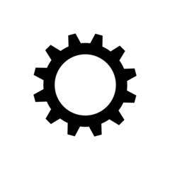 Black gearwheel on white background