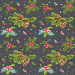 Christmas Seamless Background - Watercolor Style