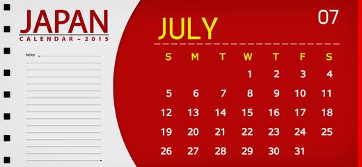 Japan book calendar 2015 flag background 07 july