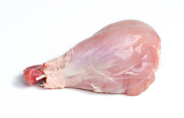 Isolated macro of skinless chicken drumstick