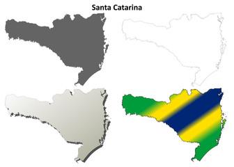 Santa Catarina blank outline map set