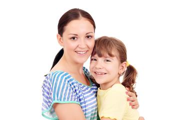 happy teenage and little girl portrait
