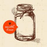 Fototapety Rustic mason canning jar. Vintage hand drawn sketch design.
