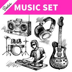 Sketch music set. Hand drawn vector illustrations of Dj icons