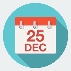 Vector Christmas Day Calendar Icon.