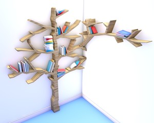 3d render of Tree of knowledge. Bookshelf
