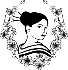 Portrait of a Geisha in a wreath of cherry