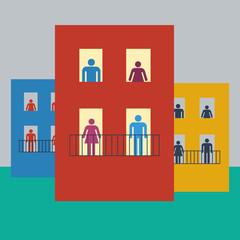 Vector illustration life of condominium, flat design