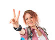 backpacker doing victory gesture over white background
