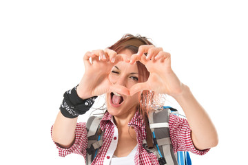 backpacker making a heart with her hands over white background