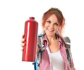 Woman with canteen over white background
