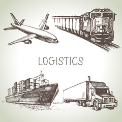 Hand drawn logistics and delivery sketch icons set.
