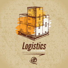 Sketch logistics and delivery poster. Cardboard background