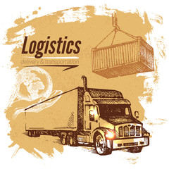 Sketch logistics and delivery background.