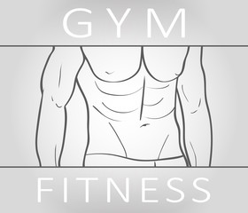 Muscular body of sexy athlete. Vector illustration about sports,