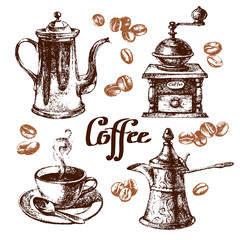Hand drawn sketch vintage coffee set. Vector illustration.