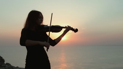 Violinist on the background of an incredibly beautiful sunset on