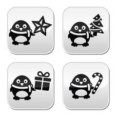 Christmas cute penguin vector buttons set