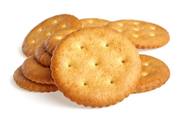 Cracker biscuits on a white background