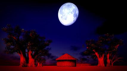 African village at night