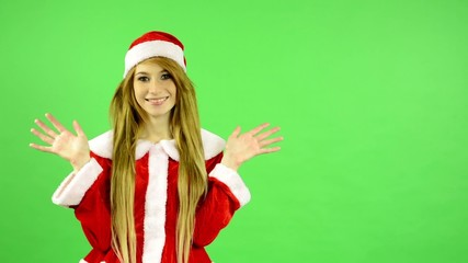 Christmas - Holidays - green screen - woman is surprise