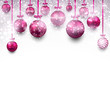 Arc background with magenta christmas balls.