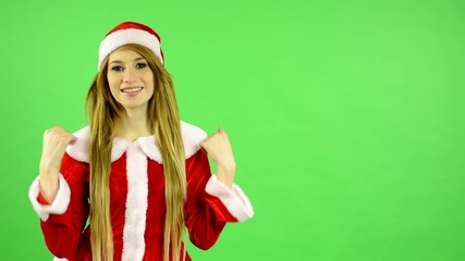 Christmas - Holidays - green screen - woman welcomes