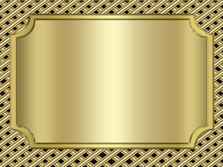 golden banner on metallic background