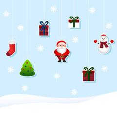Christmas set of toys  (tree, Santa, snowman, gift, boots).