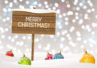 Christmas background with wooden plate